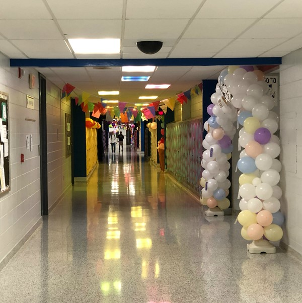 Decorating the halls for Homecoming.