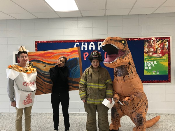 High school students dress for Halloween.