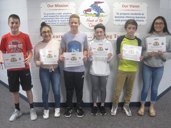 7th Grade May Students of the Month.