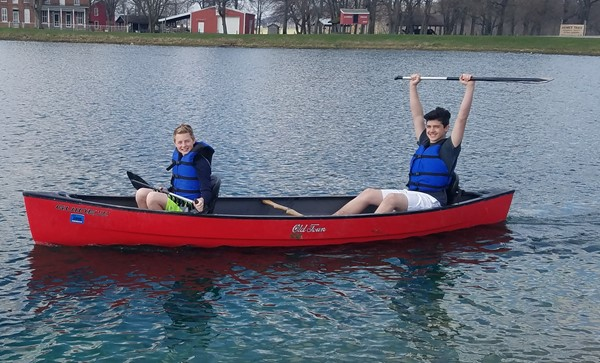 Gage and Lucas enjoying some time on the pond during iStep activities.
