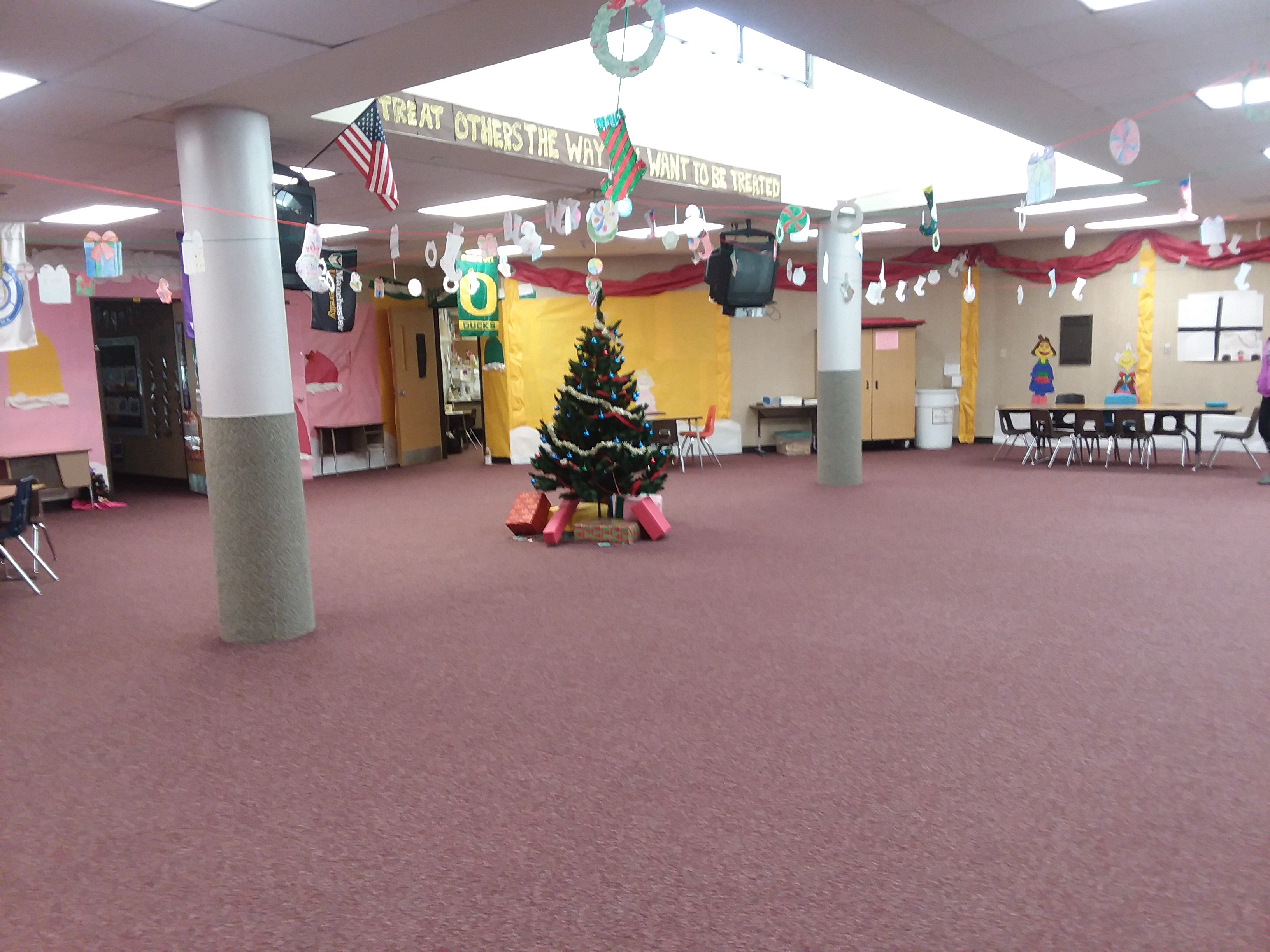 Holiday decorations at WNE