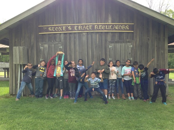 Students from Mrs. Lemler's class are all smiles at Stone's Trace on Pioneer Day.
