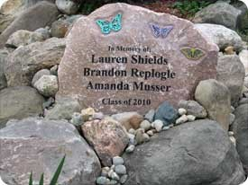 In memory stone for Lauren, Brandon, and Amanda.