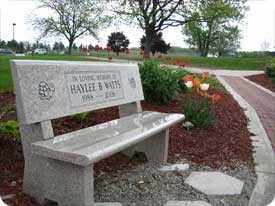 Memory bench in the Memorial Gardens