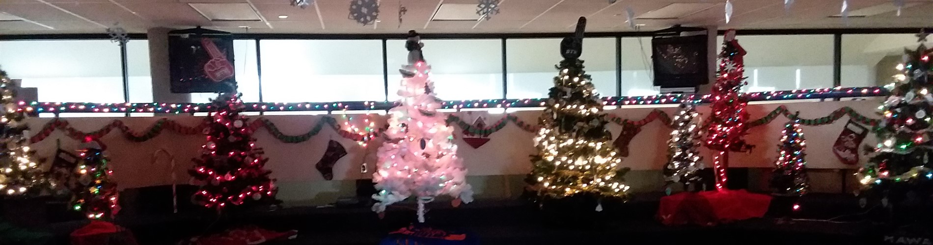 Decorated Christmas trees at WNE
