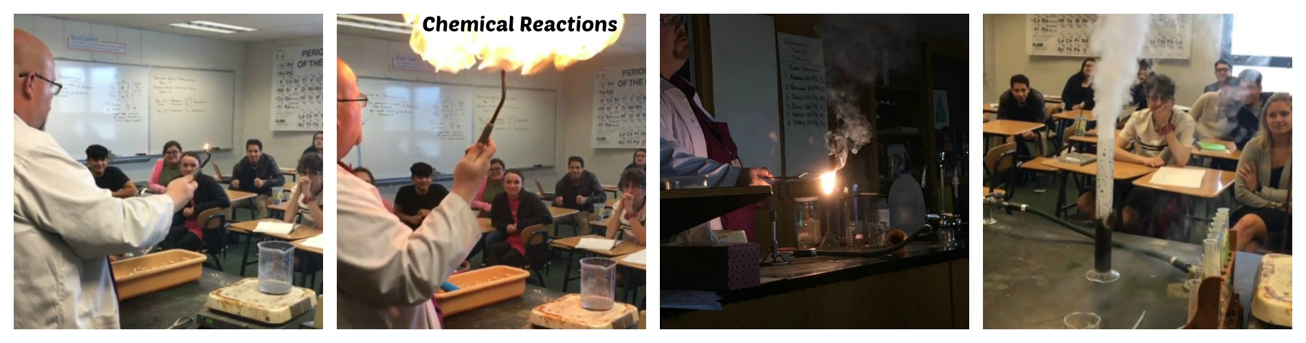 High school students learn about chemical reactions.