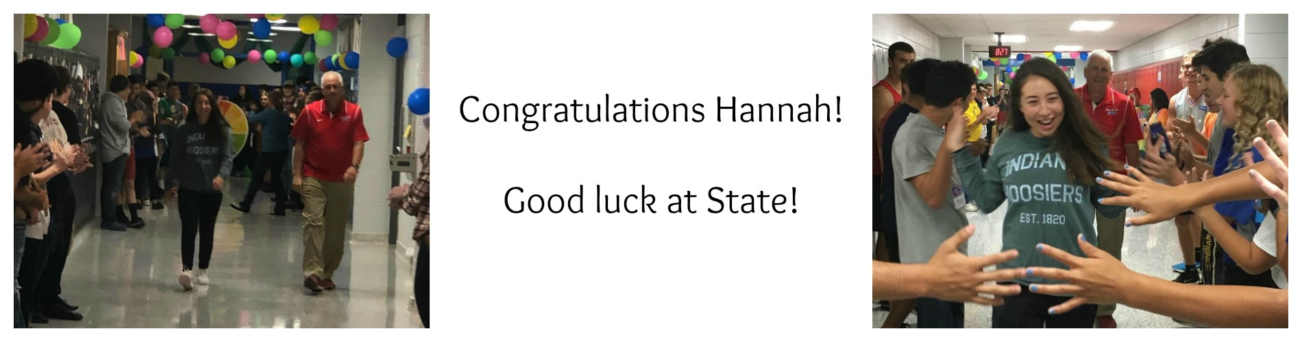 Hannah receiving good wishes from classmates for state competition.