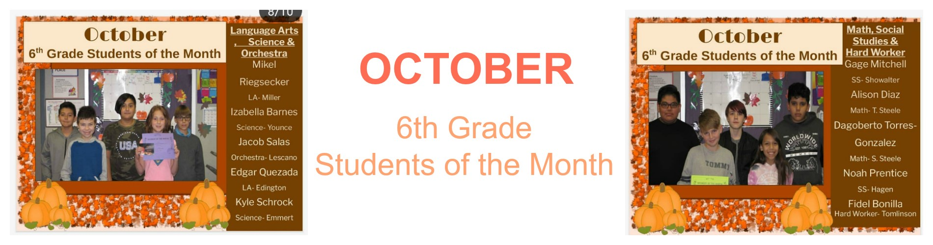 6th-grade students of the October month