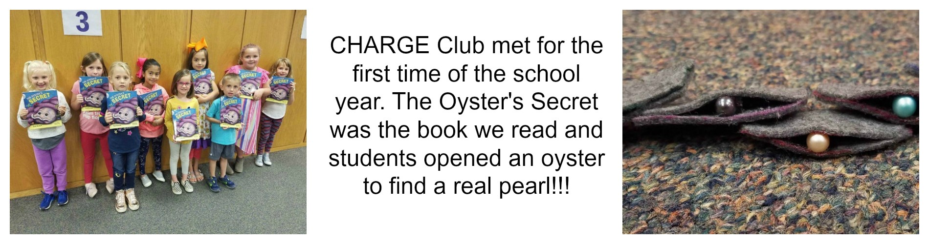 CHARGE Club meets and reads The Oyster's Secret.