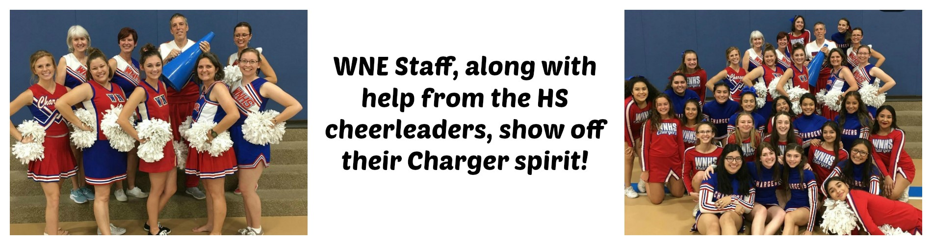 WNE staff cheer on the Chargers.