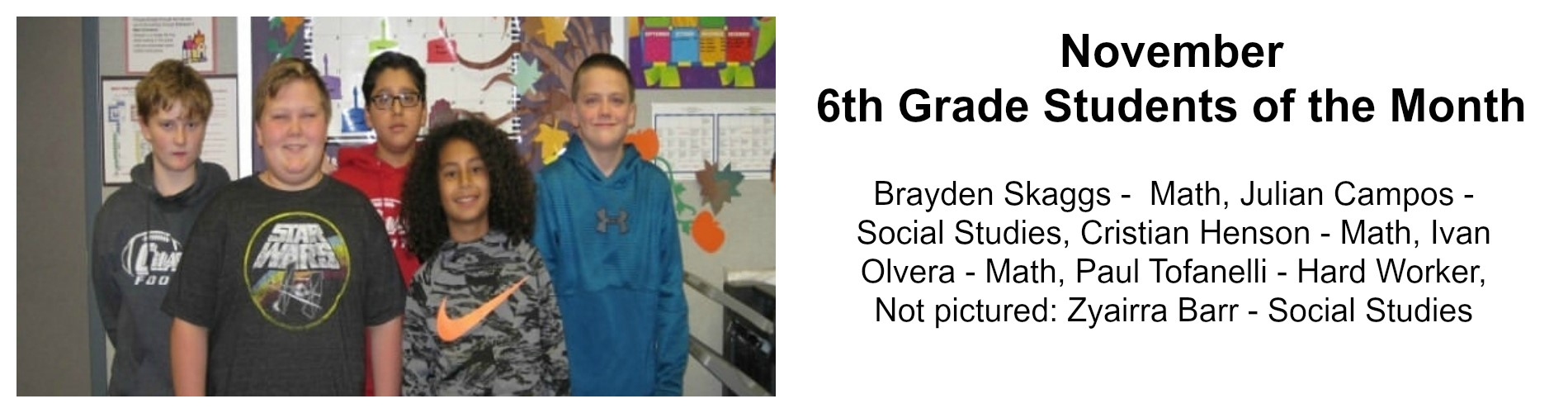6th-grade students of the month for November