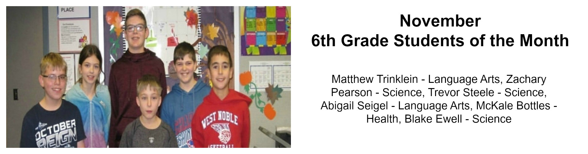 6th-grade students of the month