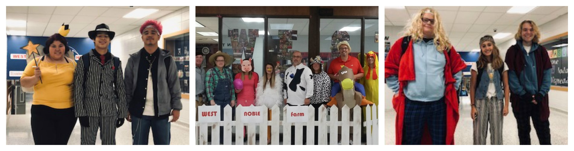 West Noble High School staff dressed for Halloween.