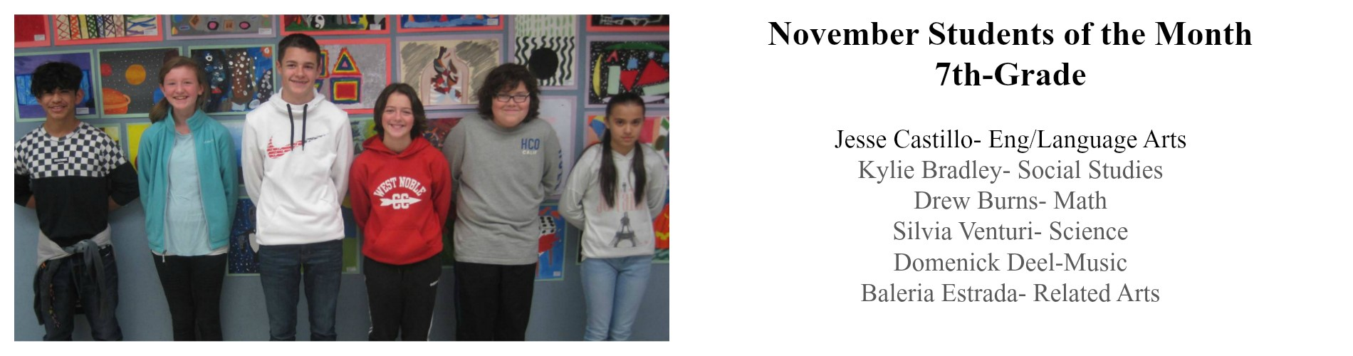 7th-Grade Students of the month.