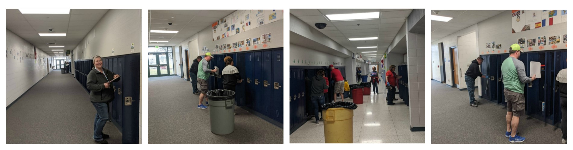 Very thankful for the terrific volunteers who came in today to clean food and loose paper from lockers! Many hands made this quick work!