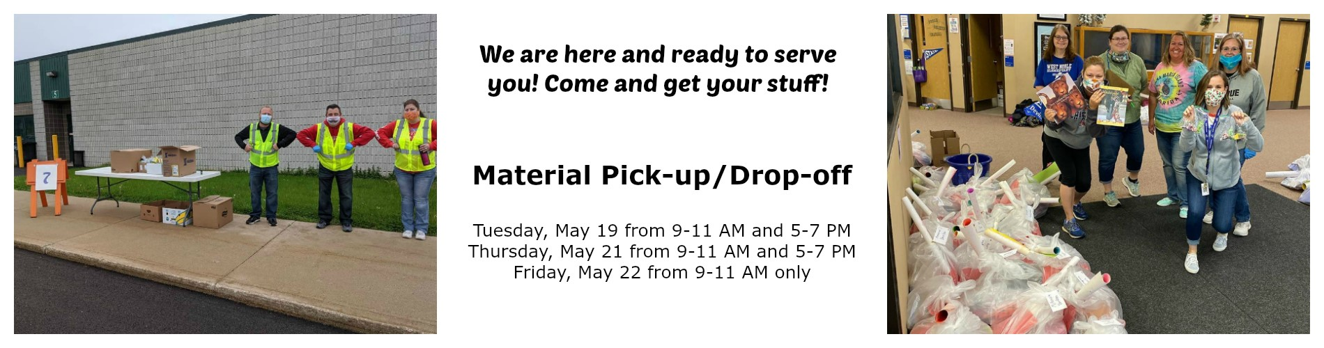 Student material pick-up drop-off